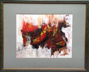 Dragon framed, acrylic on canvas