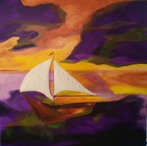 Boat#2, purples and orange